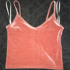 pink/maroonish velvet crop top .